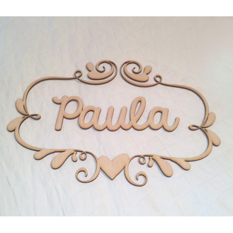 Nombre y marco personalizado en madera - Yelocai